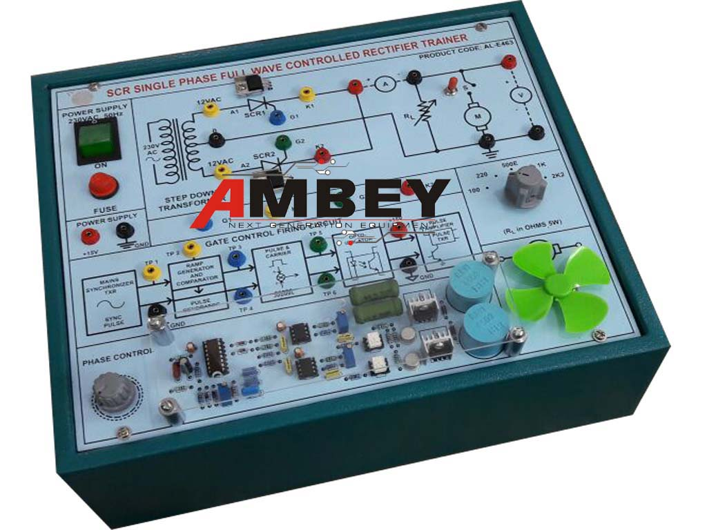 AL-E463 SCR SINGLE PHASE FULL CONTROLLED RECTIFIER TRAINER (RAMP FIRING)